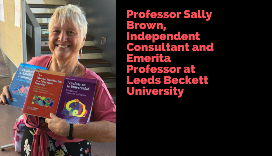 This photograph shows Professor Sally Brown recently attending a conference in Leon in Spain holding three of her publications which have been translated into Spanish and published by Narcea